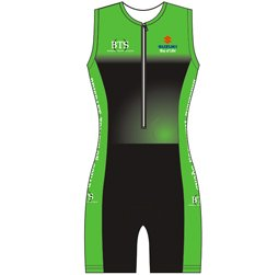Image of custom tri suit front view, custom triathlon clothing from Captivations Sportswear