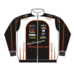 Motor Racing Jacket Front in black, red and white color scheme