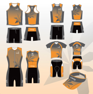 Image of custom designed triathlon club apparel for men and women team members