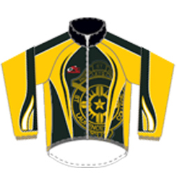 Front image for custom cycle jacket designed at Captivations Sportswear