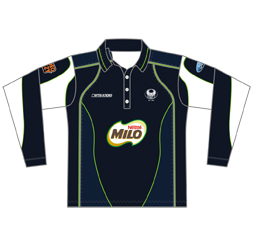 Image of long sleeve tech cricket jersey front view, custom cricket apparel by Captivations Sportswear