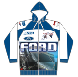 Image of motorsport hoodie front view, custom racing apparel from Captivations Sportswear