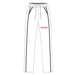 Image of panelled cricket pants front view, custom cricket designs by Captivations Sportswear