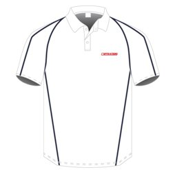 Image of panelled cricket polo shirt front view, cricket uniform designs by Captivations Sportswear