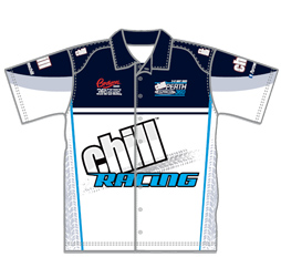 Race crew shirt front view Captivations Sportswear