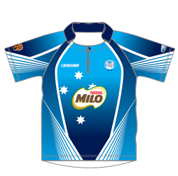 Image of stand up collar cricket shirt front view, custom team jerseys designs by Captivations Sportswear