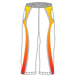 Image of sublimated cricket pants front view, custom cricket clothing by Captivations Sportswear