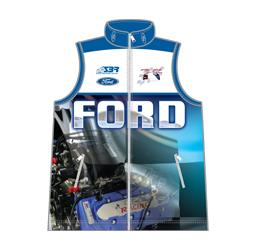 Image of sublimated pit crew vest front view, custom motorosport apparel from Captivations Sportswear