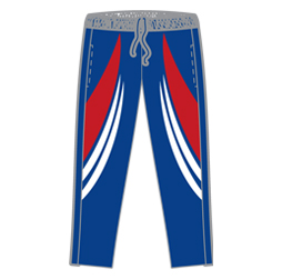 Image of tech cricket pants front view, custom cricket uniforms by Captivations Sportswear