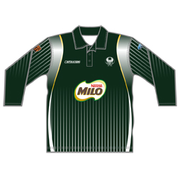 Image of three quarter sleeve cricket shirt front view, custom cricket apparel from Captivations Sportswear