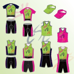 Image of an example range of men's and women's triathlon customized clothing range available from Captivations Sportswear