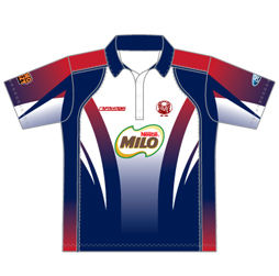 Image of unisex tech cricket shirt front view, custom cricket apparel designs by Captivations Sportswear
