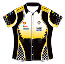 Image of women's pro pit crew racing shirt front view, custom motorsport apparel design from Captivations Sportswear