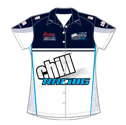 Image of women's race crew button up shirt front view, motorsport custom apparel from Captivations Sportswear