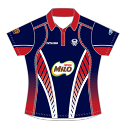 Image of women's tech cricket shirt front view, custom team uniforms by Captivations Sportswear