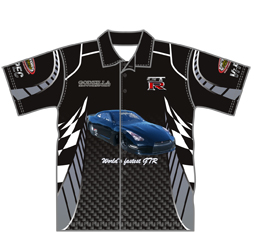 Image of custom car club shirt front view, custom motorsport apparel from Captivations Sportswear