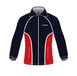 Image of 2 in 1 jacket front view, custom sports apparel from Captivations Sportswear