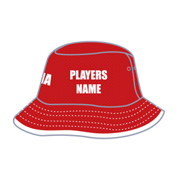 Image of bucket hat with trim binding front view, custom team headwear from Captivations Sportswear