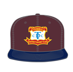 Image of custom fitted flat brim hat front view, custom team sports apparel from Captivations Sportswear