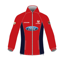 Image of custom polar fleece jacket front view, custom team outerwear by Captivations Sportswear