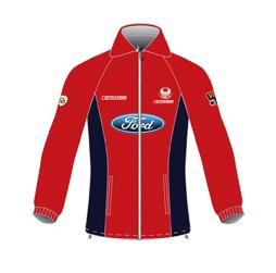 Image of custom polar fleece jacket front view, custom team outerwear by Captivations Sportswear