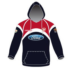Image of custom pullover hoodie front view, sublimated sports apparel by Captivations Sportswear