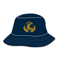 Image of custom reversible bucket hat front view, custom team apparel from Captivations Sportswear