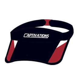 Image of custom sports sun visor, custom sports apparel from Captivations Sportswear