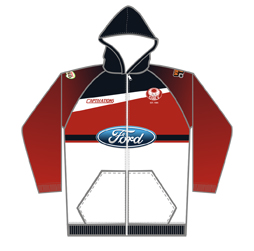 Image of custom sublimated hoodie front view, custom sports apparel from Captivations Sportswear