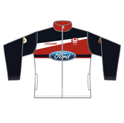 Image of custom track jacket front view, custom team apparel by Captivations Sportswear
