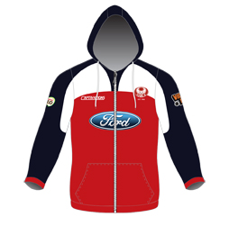 Image of custom zip up hoodie front view, custom sublimated sports clothing from Captivations Sportswear