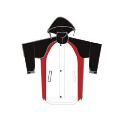 Image of cut and sew all weather jacket front view, custom team outerwear by Captivations Sportswear