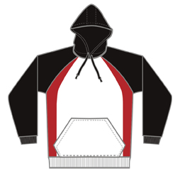 Image of cut and sew hoodie front view, customs sports apparel from Captivations Sportswear