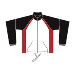 Image of cut and sew polar fleece jacket front view, custom team outerwear by Captivations Sportswear