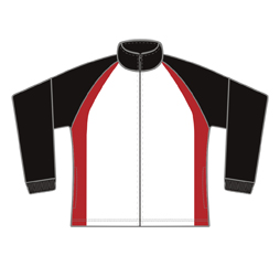 Image of cut and sew track jacket front view, custom sports apparel from Captivations Sportswear
