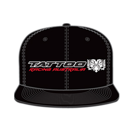 Image of flat brim trucker hat front view, custom sports apparel from Captivations Sportswear