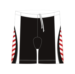 Image of men's triathlon shorts front view, custom sublimated team apparel from Captivations Sportswear