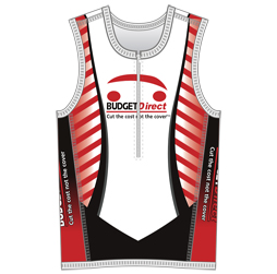 Image of men's triathlon top front view, custom sublimated team apparel from Captivations Sportswear