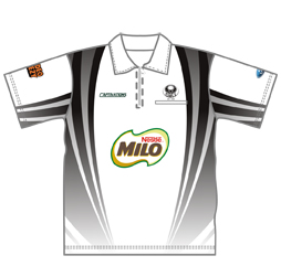 Image of sublimated unisex polo shirt with zip, front view, custom sports jerseys from Captivations Sportswear