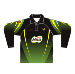 Image of sublimated unisex raglan long sleeve polo shirt front view, custom sports apparel from Captivations Sportswear