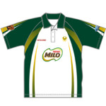 Image of sublimated unisex raglan sleeve polo shirt front view, custom sports apparel from Captivations Sportswear