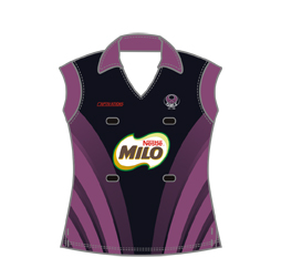 Image of women's cap sleeve polo shirt front view, custom sports jerseys from Captivations Sportswear