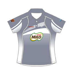 Image of women's elite polo shirt front view, custom sports polo shirts from Captivations Sportswear
