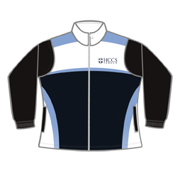 Women's sublimation track jacket front view, custom sports clothing from Captivations Sportswear