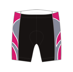 Image of women's triathlon shorts front view, custom sublimated team apparel from Captivations Sportswear