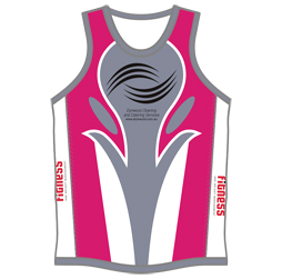 Image of women's triathlon top front view, custom sublimated team apparel from Captivations Sportswear