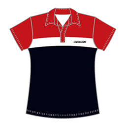 Image of women's field hockey polo shirt front view, custom field hockey uniforms from Captivations Sportswear