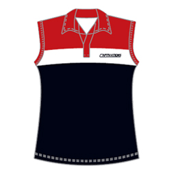 Image of sleeveless field hockey polo front view, custom field hockey uniforms from Captivations Sportswear